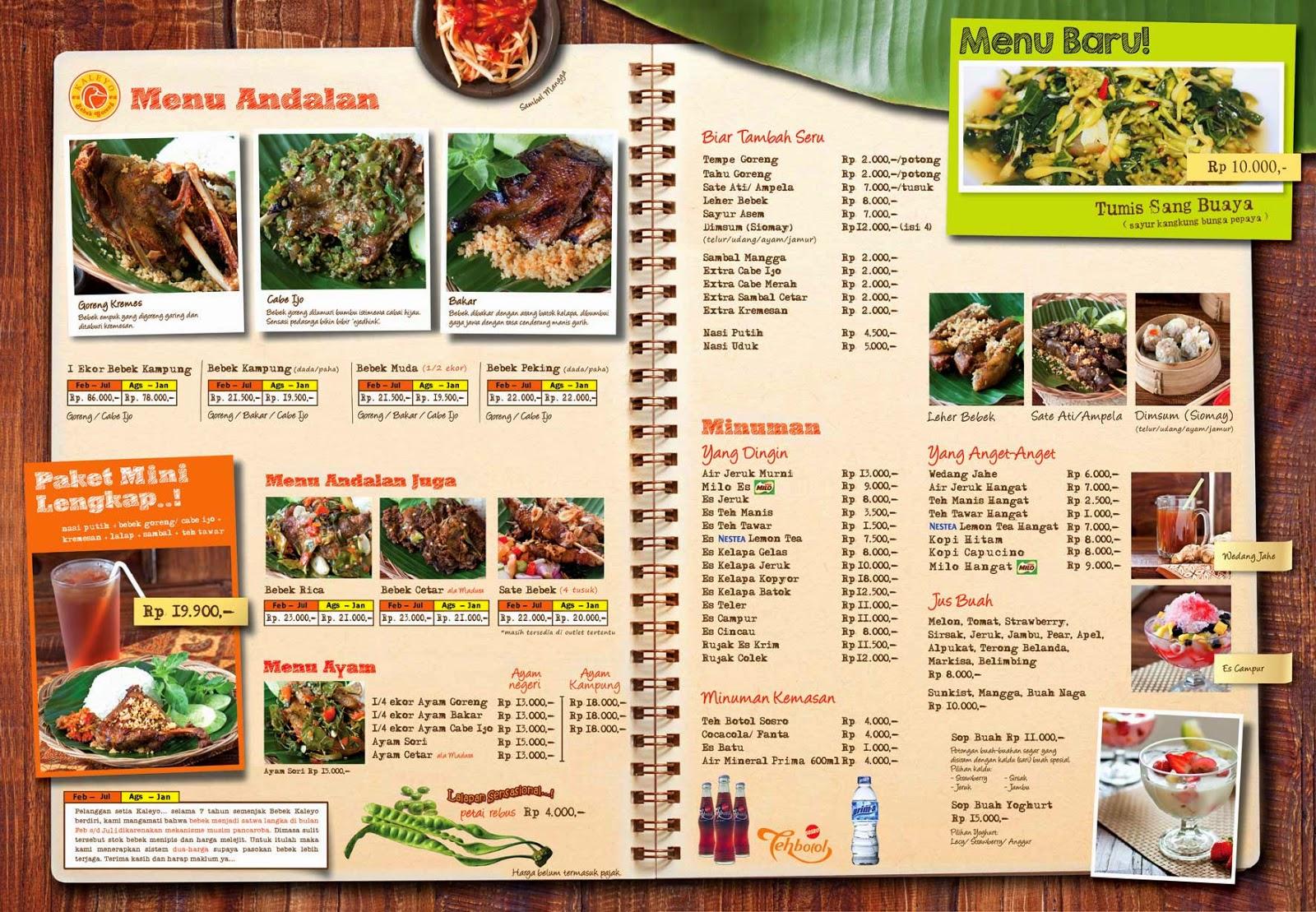 daftar harga menu bebek kaleyo, harga paket termurah bebek kaleyo, harga bebek enak di jakarta